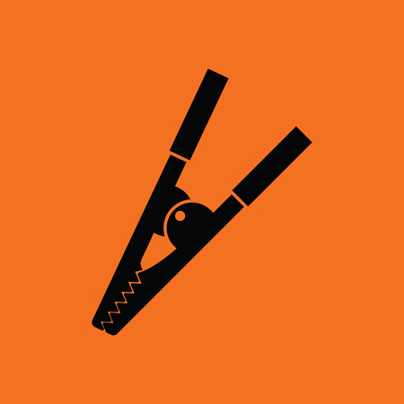 Crocodile clip icon. Orange background with black. Vector illustration. Illustration