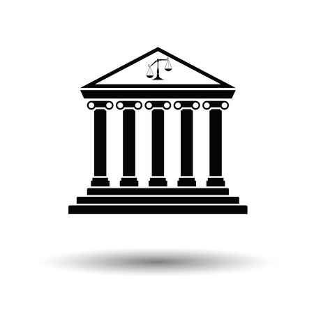 derecho romano: Courthouse icon. White background with shadow design. Vector illustration.