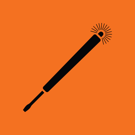 Electricity test screwdriver icon. Orange background with black. Vector illustration.