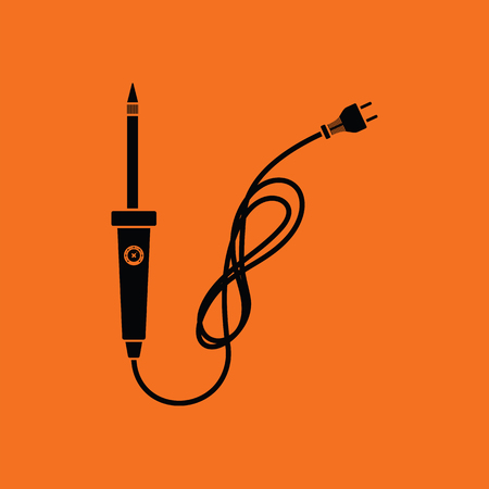 Soldering iron icon. Orange background with black. Vector illustration.