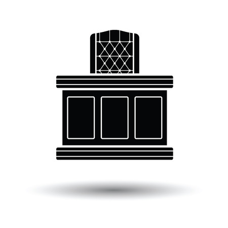 judiciary: Judge table icon. White background with shadow design. Vector illustration. Illustration