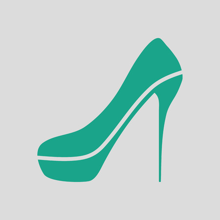 high heel shoe icon. Gray background with green. Vector illustration.