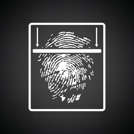 odcisk kciuka: Fingerprint scan icon. Black background with white. Vector illustration.