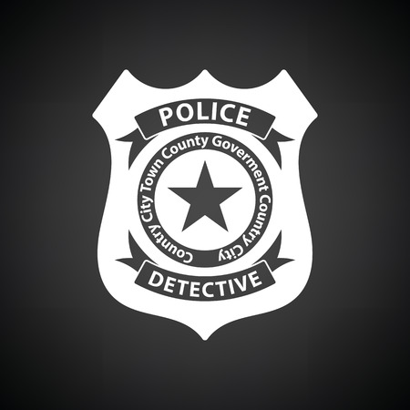 Police badge icon. Black background with white. Vector illustration.