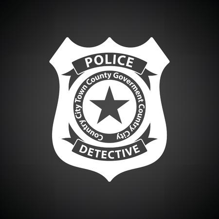 Politie badge icoon. Zwarte achtergrond met witte. Vector illustratie.