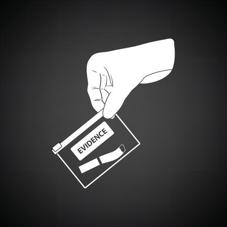 theft proof: Hand holding evidence pocket icon. Black background with white. Vector illustration. Illustration