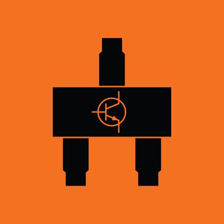 transistor: icono de transistor smd. fondo naranja con negro. Ilustración del vector.