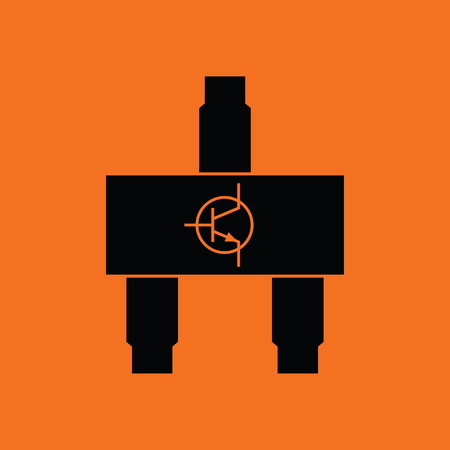 transistor: Smd transistor icon. Orange background with black. Vector illustration.