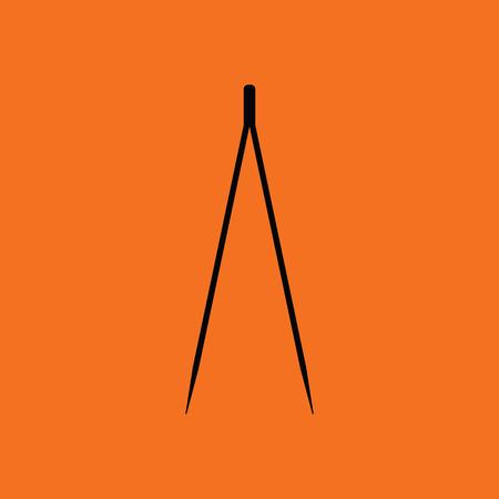 Electric tweezers icon. Orange background with black. Vector illustration.