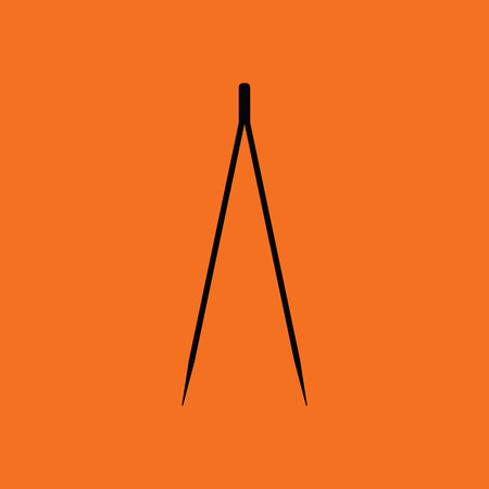 Electric tweezers icon. Orange background with black. Vector illustration.