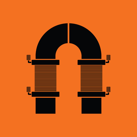 copper wire: Electric magnet icon. Orange background with black. Vector illustration. Illustration