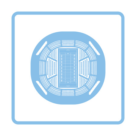 rou: American football stadium birds-eye view icon. Blue frame design. Vector illustration.