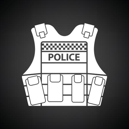 safety vest: Police vest icon. Black background with white. Vector illustration.