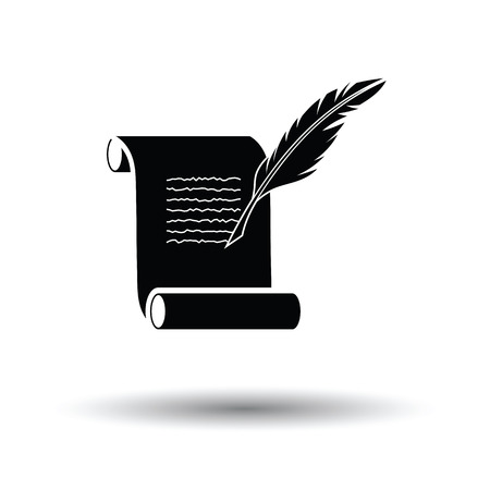 Feather and scroll icon. White background with shadow design. Vector illustration.