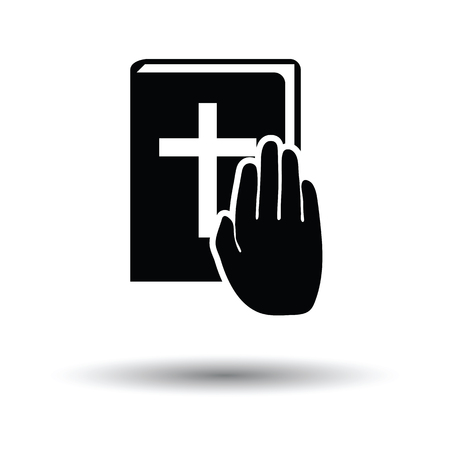 magistrate: Hand on Bible icon. White background with shadow design. Vector illustration.