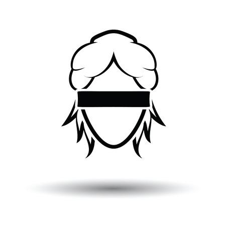 Femida hoofd icoon. Witte achtergrond met schaduw design. Vector illustratie. Stock Illustratie
