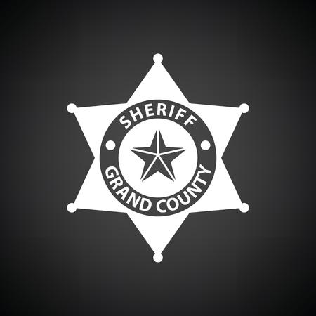 Sheriff badge icon. Black background with white. Vector illustration.
