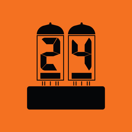 readout: Electric numeral lamp icon. Orange background with black. Vector illustration.