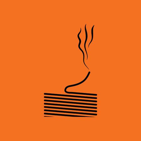 single coil: Solder wire icon. Orange background with black. Vector illustration.