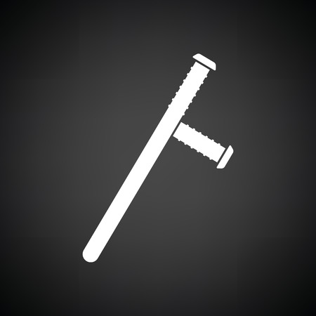 nightstick: Police baton icon. Black background with white. Vector illustration.