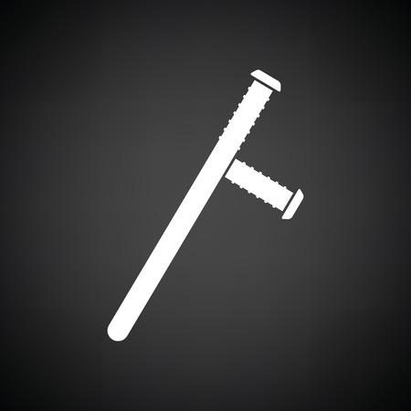 baton: Police baton icon. Black background with white. Vector illustration.