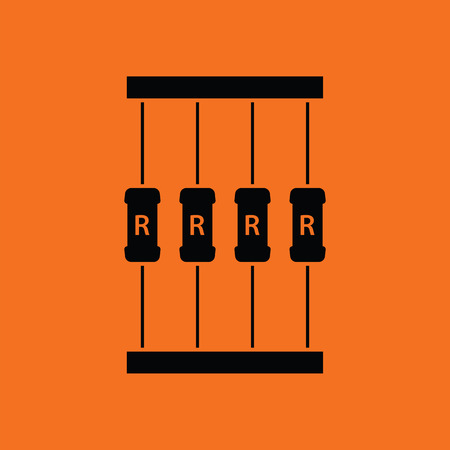 resistor: Resistor tape icon. Orange background with black. Vector illustration.