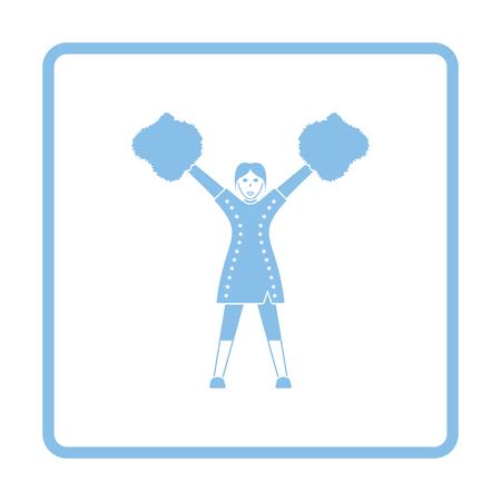 pep: American football cheerleader girl icon. Blue frame design. Vector illustration.