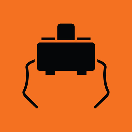 at tact: Micro button icon. Orange background with black. Vector illustration. Illustration