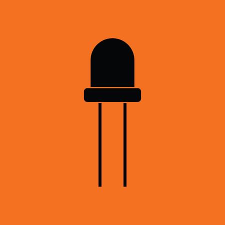 diode: Light-emitting diode icon. Orange background with black. Vector illustration.