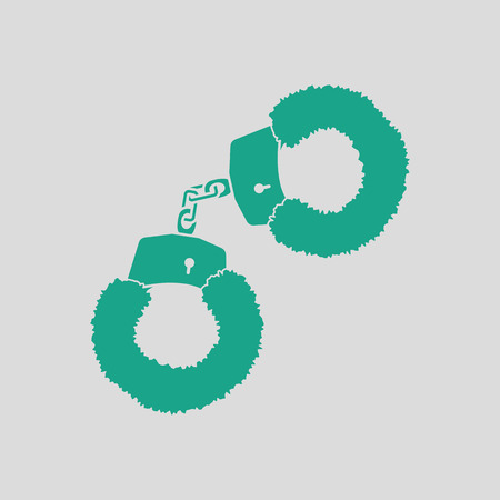 Sex handcuffs with fur icon. Gray background with green. Vector illustration. Illustration