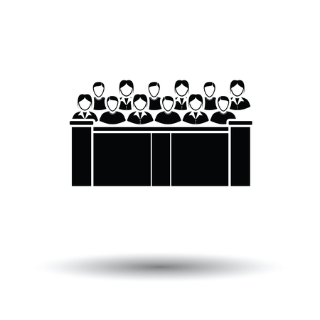 jurors: Jury icon. White background with shadow design. Vector illustration.