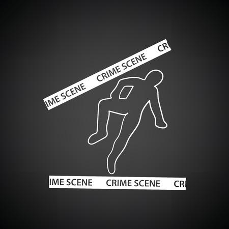 csi: Crime scene icon. Black background with white. Vector illustration.
