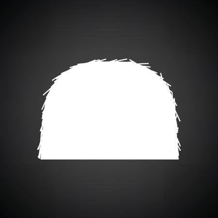 huddle: Hay stack icon. Black background with white. Vector illustration.