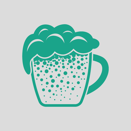 amber: Mug of beer icon. Gray background with green. Vector illustration. Illustration
