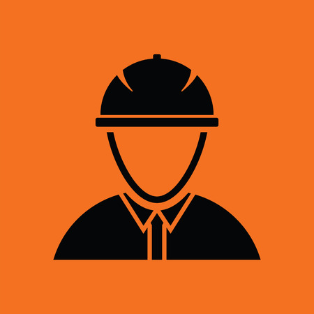 Icon of construction worker head in helmet. Orange background with black. Vector illustration.