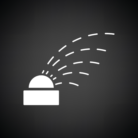 sprinkling: Automatic watering icon. Black background with white. Vector illustration.