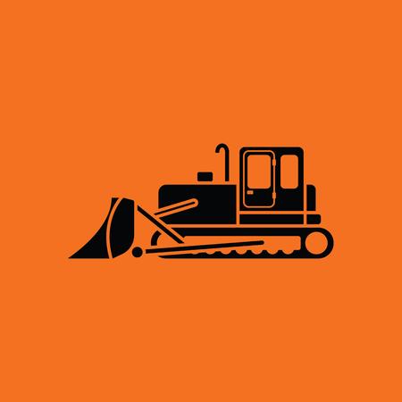 dredger: Icon of Construction bulldozer. Orange background with black. Vector illustration.