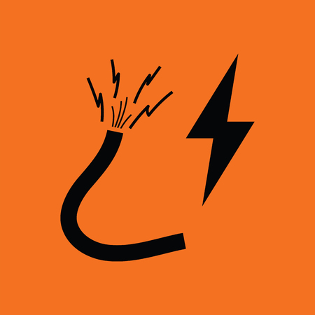 electricity providers: Icon of Wire . Orange background with black. Vector illustration.