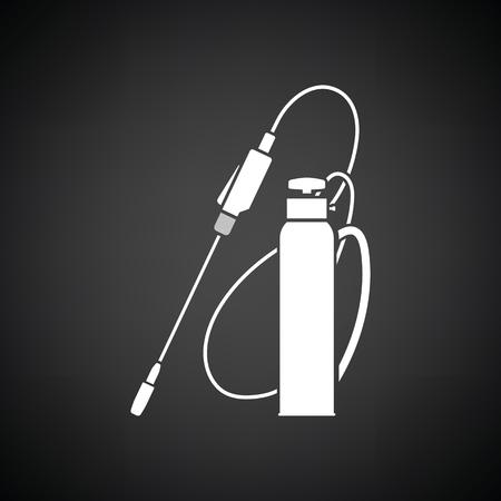 crop sprayer: Garden sprayer icon. Black background with white. Vector illustration. Illustration