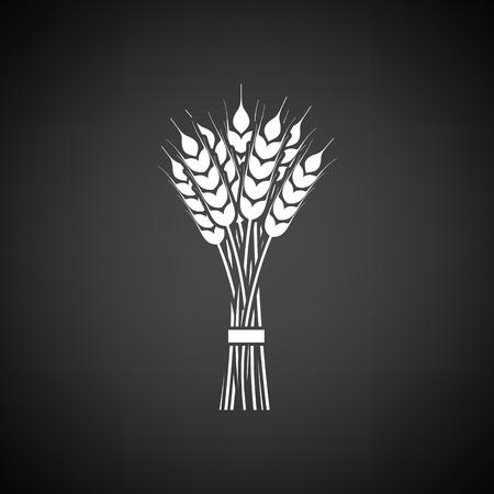 Tarwe icoon. Zwarte achtergrond met witte. Vector illustratie. Vector Illustratie