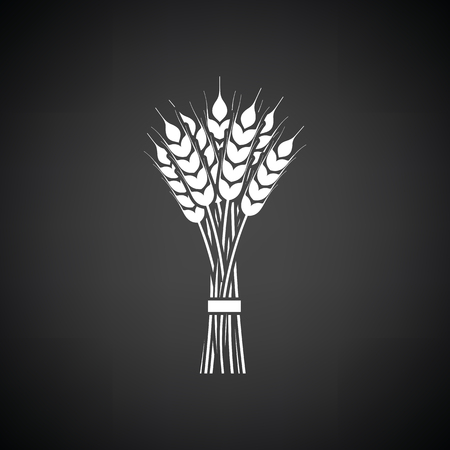 grain fields: Wheat icon. Black background with white. Vector illustration.
