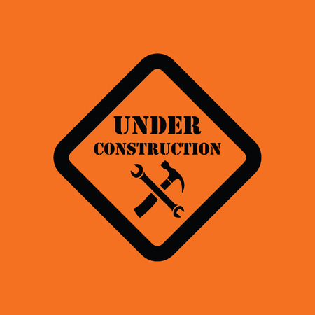 shopsign: Icon of Under construction. Orange background with black. Vector illustration.