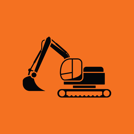 Icon of construction excavator. Orange background with black. Vector illustration. Illustration