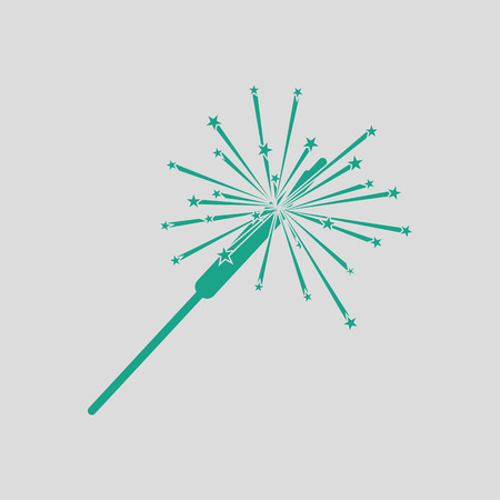 bengal light: Party sparkler icon. Gray background with green. Vector illustration.
