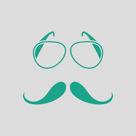 Glasses and mustache icon. Gray background with green. Vector illustration.