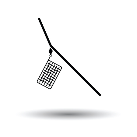 feeder: Icon of  fishing feeder net. White background with shadow design. Vector illustration.