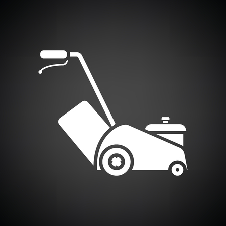 lawn mowing: Lawn mower icon. Black background with white. Vector illustration.