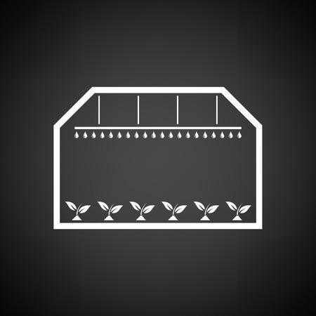 botanical gardens: Greenhouse icon. Black background with white. Vector illustration. Illustration