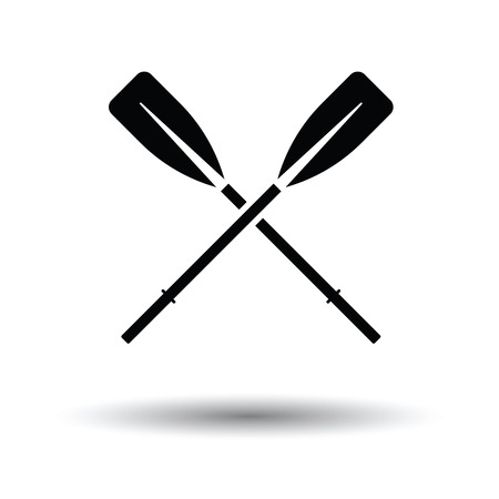oars: Icon of  boat oars. White background with shadow design. Vector illustration.