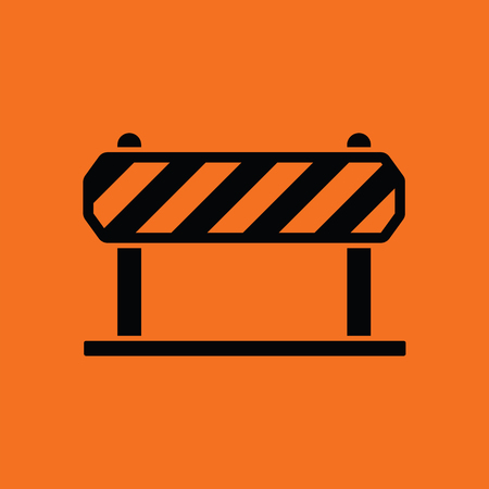 Icon of construction fence. Orange background with black. Vector illustration.